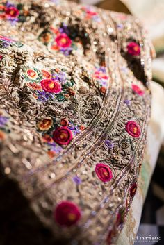 Looking for royal gold bridal lehenga with threadwork and zardozi? Browse of latest bridal photos, lehenga & jewelry designs, decor ideas, etc. Muslim Women Fashion, Indian Fashion, Indian Dresses, Indian Outfits, Indian Attire, Indian Wear, Shyamal And Bhumika, Asian Wedding Dress, Wedding Dresses