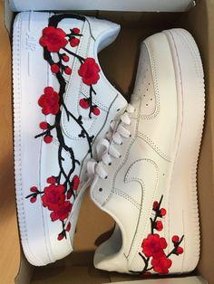 Custom Nike Air Force 1 for Sale in Bellevue, WA - OfferUp Red Nike Shoes, Nike Shoes Air Force, Custom Painted Shoes, Custom Shoes, Af1 Shoes, Shoes For School, Custom Air Force 1, Nike Gold, Fresh Shoes