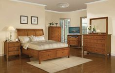 Winners Only Vintage Bedroom Set - Classic styling and clean lines in cherry veneer and hardwood with a hand-rubbed finish. Standard footboard storage. All wood, French and English dovetail drawer construction with ball bearing drawer glides.