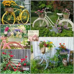 Vintage bicycles upcycled to planters ~ Shabby in love: Lovely garden Container . - Vintage bicycles upcycled to planters ~ Shabby in love: Lovely garden Container ideas Source by beaujardin - Vintage Garden Decor, Vintage Gardening, Vintage Bike Decor, Bicycle Decor, Bicycle Art, Rustic Gardens, Outdoor Gardens, Bike Planter, Garden Front Of House