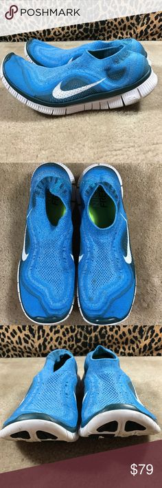 Nike Free Flyknit 5.0 Men's 11 615805 410 Lightly used, great condition. There are some faded spots on top of left shoe, see photo. 100% AUTHENTIC  COLORS : VIVID BLUE / WHITE / NIGHT FACTOR  PRODUCT NUMBER - 615805 410 Nike Shoes Sneakers