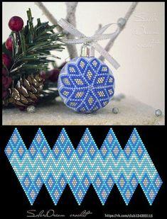 Schemes for Christmas balls from SolarDream - 36 photos Bead Crochet Patterns, Bead Crochet Rope, Beading Patterns, Beaded Ornament Covers, Beaded Ornaments, Beading Projects, Beading Tutorials, Crochet Christmas Ornaments, Christmas Balls