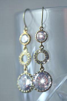 Tripple circle Swarovski crystal bridal earrings