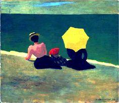 FELIX VALLOTON - Sur la plage (1899) Huile sur carton (42 x 48)