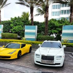 Ferrari in yellow color and Rolls Royce in White color. Rolls Royce Rental, Rolls Royce Cars, Rolls Royce Phantom, Miami Beach, Ferrari, Yellow, Color, Rolls Royce Hire, Rolls Royce Motor Cars