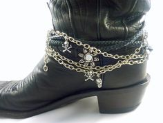 TheCraftStar Boot Bling Black and Silver - Skulls, Chain, Charms