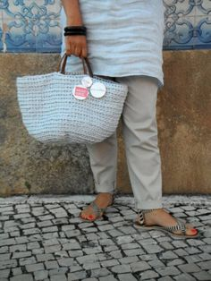 https://flic.kr/p/ufvZ9e | by me l byGuizo (facebook) | hand-made baskets - ice cream color collection  cotton l leather  in blueberry...  MUST HAVE
