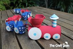 Egg carton and tp roll train. Fun and easy! Might work to make the wheels from cardboard and use a brad to secure them to the train.