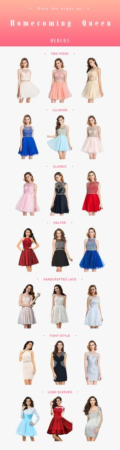 #Homecoming dresses on sale! 2017 full designs collection with semi formal/ party short dresses. >> www.hebeos.com