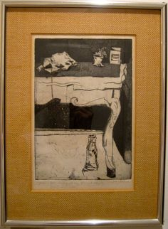"Etching by Judy Pokras ""Table"""