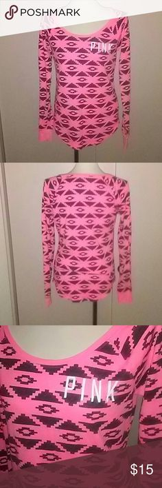 PINK Brand Thermal Top color black and pink. Cute PINK Brand Thermal Top with black print. The first photo is not showing the black. Look at the third photo to get a sense of the color. PINK Intimates & Sleepwear