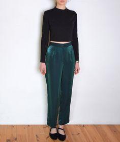 90's green taffeta pants shiny high waisted by WoodhouseStudios
