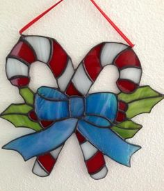 Handmade Christmas Candy Cane Stained Glass Suncatcher | eBay