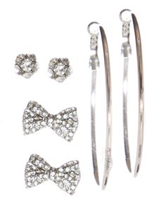 Love the bows $6.99 rue21 : BOW CRYSTAL TRIO
