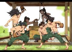 Shirtless ninja dudes playing in the heat from the anime Nintama!