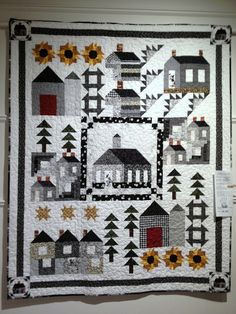 Salt and Pepper Village quilt - love those sunflowers!