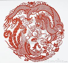 Paper-cutting is a traditional Chinese folk art. The dragon and the phoenix often served in classical art and literature as metaphors for people of high virtue and rare talent or, in certain combinations, for matrimonial harmony or happy marriage.