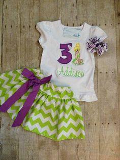 Tinkerbell Birthday Outfit - Chevron Birthday Skirt Set on Etsy, $45.00
