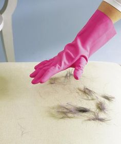 Rubber gloves to remove pet hair Surprising Cleaning New Uses - Real Simple Household Cleaning Tips, House Cleaning Tips, Diy Cleaning Products, Cleaning Solutions, Deep Cleaning, Spring Cleaning, Cleaning Hacks, Cleaning Recipes, Cooking Recipes