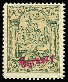 POLAND - Local Stamps Warsaw 1915: '6groszy' on 5gr dark green and pale orange-yellow trial print Mi #3P, Cat �150, Petriuk expertising handstamp. Plus 10gr brownish black perf 11½ cat �80 and 10gr red imperf. All mint
