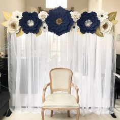 Navy Blue, White, and Gold Paper Flower Backdrop by CynDetails (IG @cyndetails)