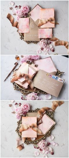 vintage watercolor ombre calligraphy pink wedding invitations #pinkwedding #weddingideas #weddingcards / http://www.deerpearlflowers.com/wedding-invitations-from-4lovepolkadots/