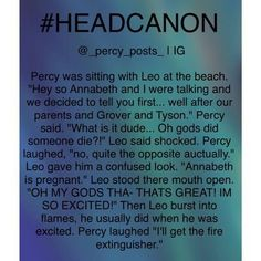 I love how Leo has the same reaction as every single Percabeth shipper.