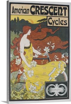 American Crescent Cycles French Advertising Poster Photo Canvas Print | Great Big Canvas