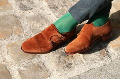 LOAKE - Double boucles daim marron semelle cuir - Boucles - Styles - Homme Boutique > British Shoes Ledru Rollin
