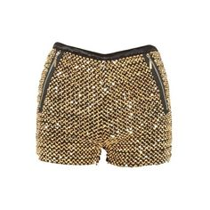 Gold Sequin Embellished Zip Pocket Hot Pants ❤ liked on Polyvore
