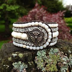 White Shell and Clear Glass Beaded Leather 5-Row Cuff Bracelet w/ Silver Button on Etsy, $60.00