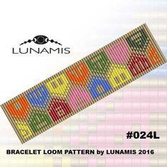 Bracelet pattern, loom pattern, square stitch pattern, pdf file, pdf pattern, cuff, #024L