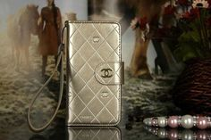 Chanel iPhone 6 Plus Embossed Patent Leather Wallet Case With Mirror Golden Free Shipping - Deluxeiphone6case.com