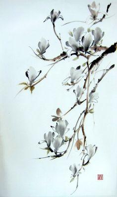 Ella Saridi - Japanese magnolia Suibokuga ink painting Sumie  by Suibokuga, €58.00