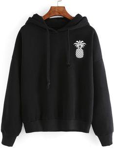 Black Pineapple Print Drop Shoulder Hooded SweatshirtFor Women-romwe