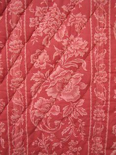 Antique-French-quilt-boutis-pique-c1890-red-pink-toile