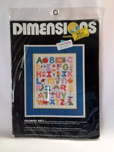 Colorful ABC Cross Stitch Kit Baby Nursery Alphabet Sampler Dimensions 3461 New Vintage