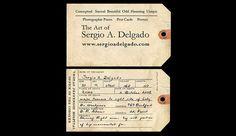 Sergio Delgado, business card, photographer, toe tag