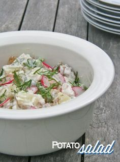 potato salad with new potatoes and radishes, recipe via https://www.skimbacolifestyle.com/2012/05/new-potato-salad-recipe-with-radishes.html