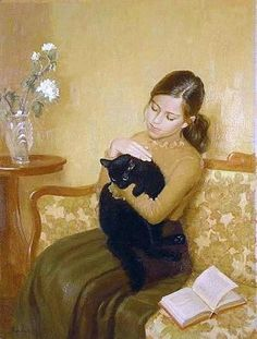 Irina Kalentieva - young girl with a black cat, who was reading