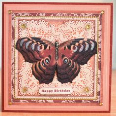 Cardtopper Large butterfly orange red 488 on Craftsuprint designed by Gertraud Lueckel - made by Debbie Knechtel - I cut out all elements and layered with foam tape. I mounted on a beige mat then a peach mat and finally a rust colored card front. I added gold peel offs, some gold gems and used diamond stickles to highlight the butterfly - Now available for download!