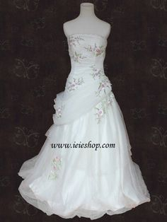 Romantic Spring Strapless Tulle Aline Wedding Dress with by ieie, $610.95