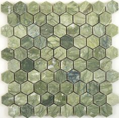 Tuscan Glass  Kitchen, Hexagon, Ocean Green, Polished, Green, Stone