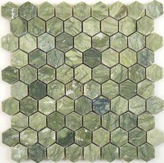 Tuscan Glass  Kitchen, Hexagon, Ocean Green, Polished, Green, Stone