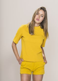 "Yellow Jacquard Knit Top with zip back detail. Material: 93% Polyester 3% Elastane. Model wears UK size S and her height is 5'8"" £32.99 at www.froww.com"