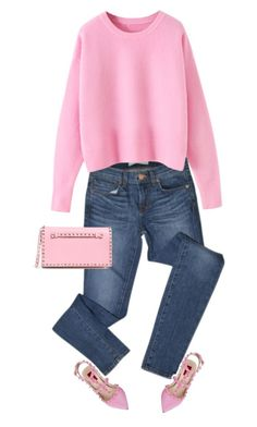 """""""pink"""" by ecem1 ❤ liked on Polyvore featuring J Brand, Valentino, women's clothing, women, female, woman, misses and juniors"""