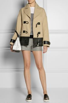 Jason Wu|Leather-trimmed cotton and silk-blend coat|Jason Wu | Striped wool sweater | Jason Wu | Mid-rise tweed shorts | Miu Miu | Leather point-toe sneakers | Alexander Wang | Marion large cracked-leather shoulder bag |