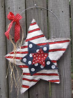 Burlap Stars Red White and Blue Burlap Door Hanger