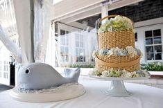Nantucket lightship basket wedding cake and whale groom's cake
