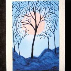 Asian Moon Blue Trees Abstract Blank Greeting Card | TheVenusflytrapCollection - Cards on ArtFire